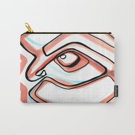 Abstract Open Eye Line Drawing with Red and Blue Carry-All Pouch