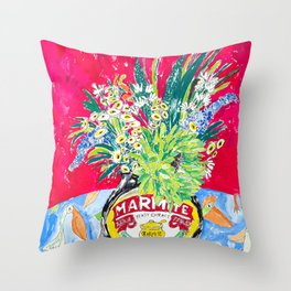 Wildflowers and Birds on Bright Pink with Marmite Jar Floral Still Life Painting Throw Pillow