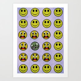 Attack of the Zombie smiley! Art Print