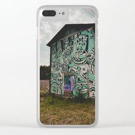 Blue Graffiti Barn Clear iPhone Case