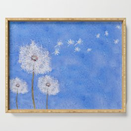 flying dandelion watercolor painting Serving Tray