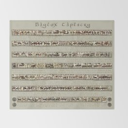 Bayeux Tapestry on cream - Full scenes and description Throw Blanket