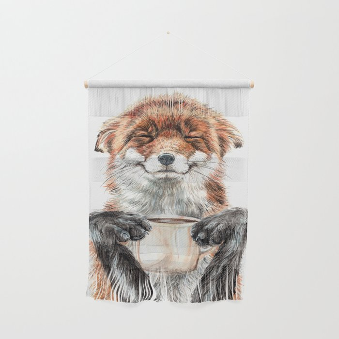 """ Morning fox "" Red fox with her morning coffee Wall Hanging"
