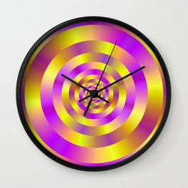 Yellow and Pink Spiral Rings Wall Clock