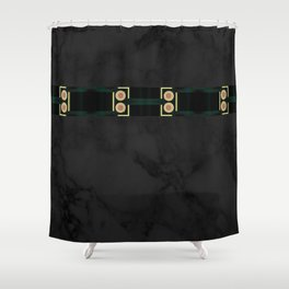 Black Gold Green Marble Mandala Abstract Shower Curtain