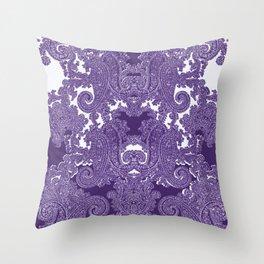 paisley vine in deep purple Throw Pillow