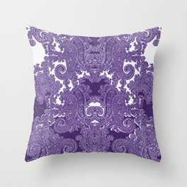 paisley vine in deep purple Throw Pillow
