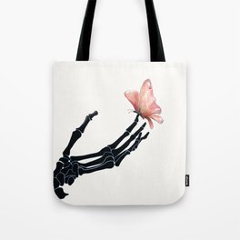 Butterfly on Skeleton Hand Tote Bag