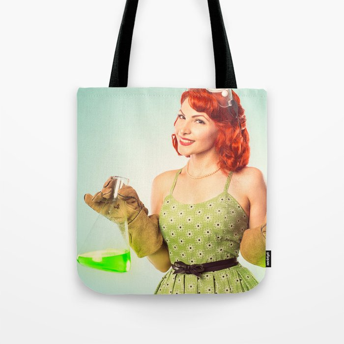 Distractingly Sexy Scientist Pinup Tote Bag
