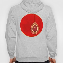 Beautiful red egg with gold cross on rich vibrant texture Hoody