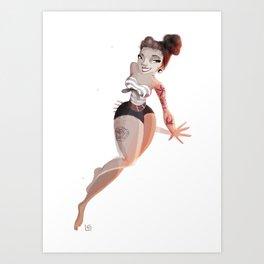 Rockabily Girl Art Print