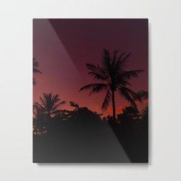 Tropical Palm Tree Twilight Metal Print