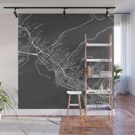 Honolulu Map, USA - Gray Wall Mural