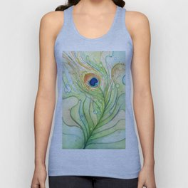 Green Watercolor Peacock Feather and Bubbles Unisex Tank Top