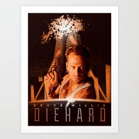 die hard Art Prints featuring DIE HARD (1988) by Tom Ralston