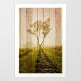 Faux Barn Board Wood Texture Calming Morning Rural Landscape Photograph Art Print