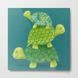 Turtle Stack Family in Teal and Lime Green Metal Print