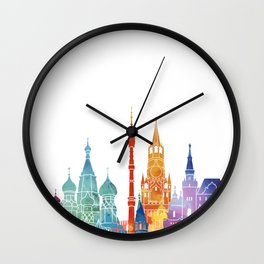 Moscow landmarks watercolor poster Wall Clock