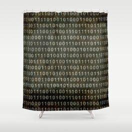 Binary Code - Distressed textured version Shower Curtain