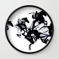 horses Wall Clocks featuring Black horses by Robert Farkas