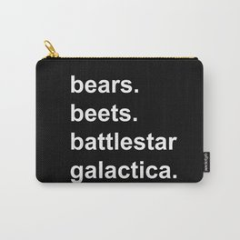 Bears Beets Battlestar Galactica (lowercase white) - the Office Carry-All Pouch