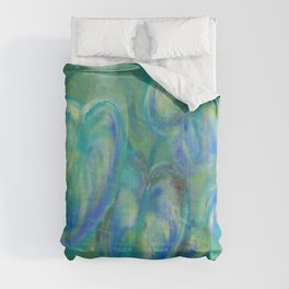 Green and White Spring Leaves Comforters