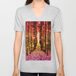 Magical Forest Sunset Pink Unisex V-Neck