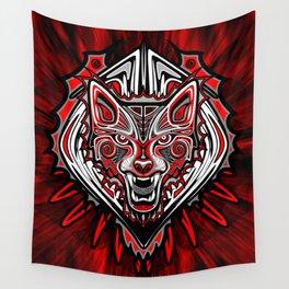 Wolf Tattoo Style Haida Art Wall Tapestry