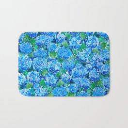 abstract blue hydrangea wall Bath Mat