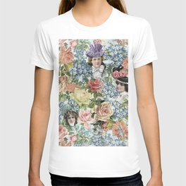 Vintage Botanical Flower Lady with Hut Pattern T-shirt
