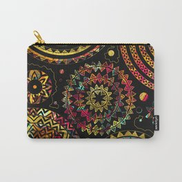 Colorful  Tribal Boho Ethnic Circular Composition Carry-All Pouch