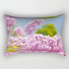 Lilac vibrant pink flowers shrub Rectangular Pillow