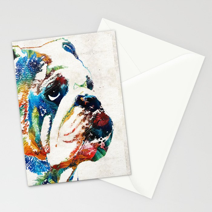 Bulldog Pop Art - How Bout A Kiss - By Sharon Cummings Stationery Cards
