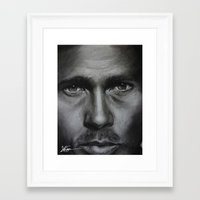 brad pitt Framed Art Prints featuring Brad Pitt by Future Illustrations- Artwork by Julie C