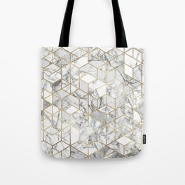 White marble geomeric pattern in gold frame Tote Bag