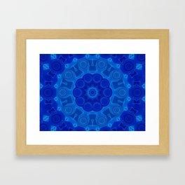 Shades of Blue Kaleidoscope Flower Art Framed Art Print