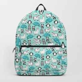 Narwhal,Unicorn, Panda, Llama, Penguin, Hippo, Animal Print For Girls Backpack