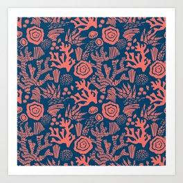 Modern nautical navy blue living coral floral Art Print