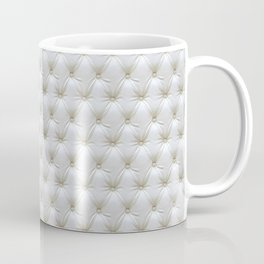 Faux White Leather Buttoned Coffee Mug