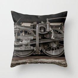 Vintage Steam Engine Alligator Crosshead Locomotive Detail Close Up Railroad Wheels Throw Pillow