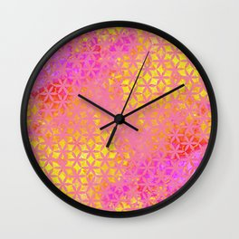 Flower of Life Paint Pattern Pink Gold Wall Clock