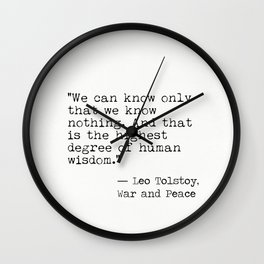 Leo Tolstoy War and Peace quote Wall Clock