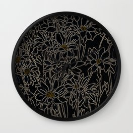 Daisy Chrysanthemum,  black Wall Clock