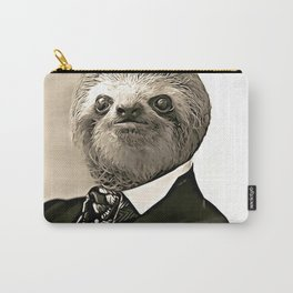 Gentleman Sloth in Authoritative Pose - Cartoon Carry-All Pouch
