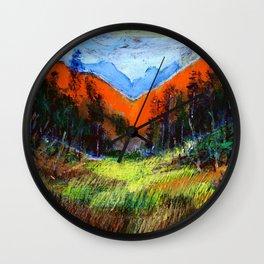 Mountain Meadow Landscape Wall Clock