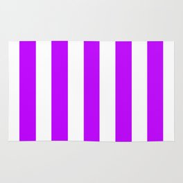 Electric purple - solid color - white vertical lines pattern Rug