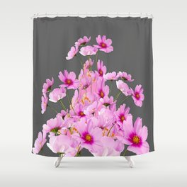 FUCHSIA PINK COSMOS GREY FLORAL DESIGN Shower Curtain
