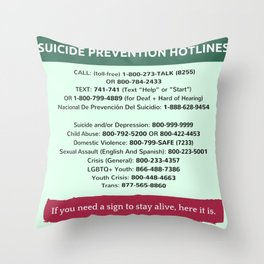 Suicide Prevention Hotlines Throw Pillow