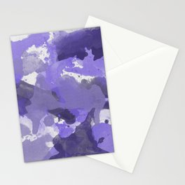 Purple Splatters Watercolor Illustration - Patchy Camo Stationery Cards