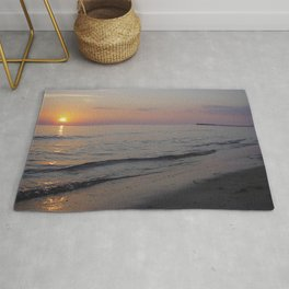 Sunset Beach Waves Rug